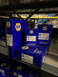 NAPA Air Filters on Premier Auto Parts Shelf